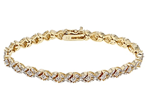 White Diamond 18k Yellow Gold Over Brass Bracelet 1.00ctw