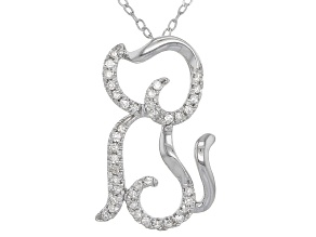 White Diamond 10k White Gold Necklace .10ctw