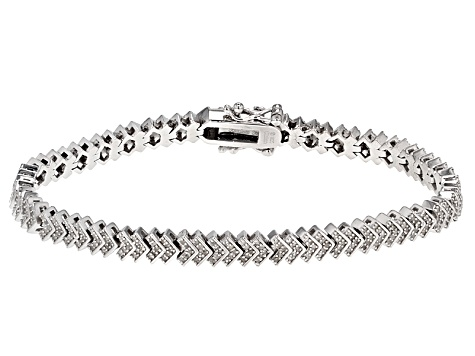 White Diamond Rhodium Over Sterling Silver Bracelet .75ctw