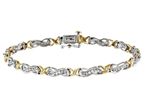 White Diamond 10K Two-Tone Gold Bracelet 1.00ctw
