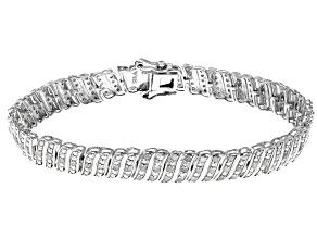 White Diamond Rhodium Over Sterling Silver Bracelet 0.90ctw