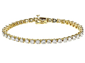White Diamond 14k Yellow Gold Bracelet 7.00ctw