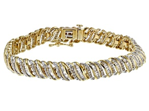 White Diamond 10K Yellow Gold Bracelet 2.00ctw