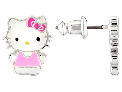 73df138a4 Hello Kitty ® Enamel Silver Tone Earrings - DOCI000039 | JTV.com