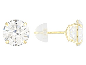 White Cubic Zirconia 14K Yellow Gold Stud Earrings 6.50ctw