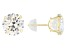 White Cubic Zirconia 14K Yellow Gold Stud Earrings 13.16ctw