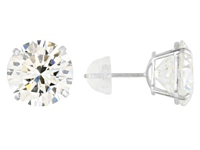 White Cubic Zirconia 14K White Gold Stud Earrings 13.16ctw