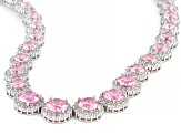 Pink And White Cubic Zirconia Rhodium Over Sterling Silver Tennis Necklace 71.18ctw