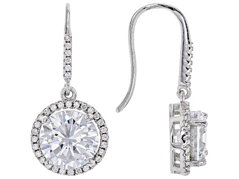 White Cubic Zirconia Rhodium Over Sterling Silver Pendant With Chain And Earrings 19.01ctw