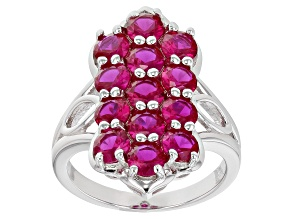 Red Lab Created Ruby Rhodium Over Sterling Silver Ring 2.80ctw