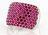 Red Lab Created Ruby Rhodium Over Sterling Silver Ring 5.10ctw