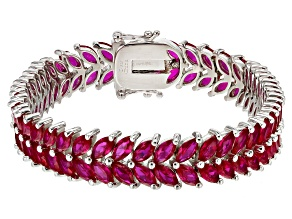 Red Lab Created Ruby Rhodium Over Sterling Silver Tennis Bracelet 24.73ctw