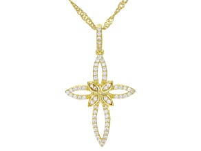 White Cubic Zirconia 18K Yellow Gold Over Sterling Silver Cross Pendant With Chain 0.56ctw