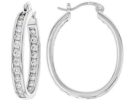White Cubic Zirconia Rhodium Over Sterling Silver Inside Out Hoop Earrings 3.00ctw