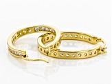 White Cubic Zirconia 18K Yellow Gold Over Sterling Silver Inside Out Hoop Earrings 3.00ctw