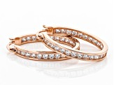 White Cubic Zirconia 18K Rose Gold Over Sterling Silver Inside Out Hoop Earrings 3.00ctw
