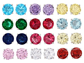 Multi Color Cubic Zirconia And Simulants Rhodium Over Silver Stud Earring Set Of 12, 15.00ctw