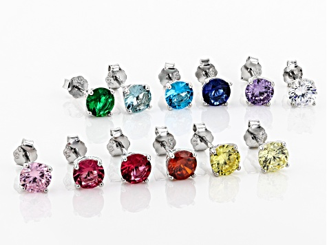 Multi Color Cubic Zirconia And Simulants Stud Earring Set Of 12 15 00ctw