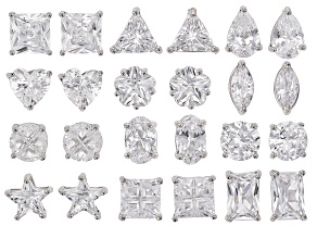 Cubic Zirconia Rhodium Over Sterling Silver Stud Earring Set Of 12 18.76ctw
