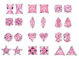 Multishape Pink Cubic Zirconia Stud Earring Set Of 12 18.76ctw