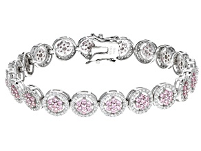 Pink & White Cubic Zirconia Rhodium Over Sterling Silver Tennis Bracelet 9.11ctw