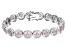 Pink & White Cubic Zirconia Rhodium Over Sterling Silver Tennis Bracelet 9.11ctw