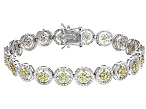 Yellow & White Cubic Zirconia Rhodium Over Sterling Silver Tennis Bracelet 9.11ctw