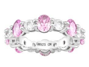pink and white cubic zirconia rhodium over sterling silver band ring 4.42ctw