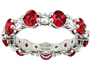Red And White Cubic Zirconia Rhodium Over Sterling Silver Band Ring 4.42ctw