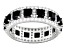 Black And White Cubic Zirconia Sterling Silver Band Ring 6.04ctw