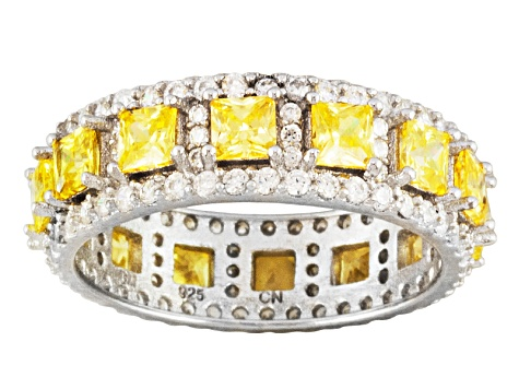 Yellow And White Cubic Zirconia Sterling Silver Ring 6.12ctw