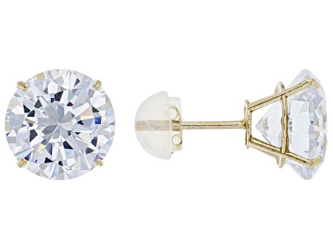 White Cubic Zirconia 10k Yellow Gold Earrings 9.00ctw