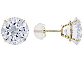 White Cubic Zirconia 10k Yellow Gold Earrings 9.00ctw