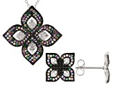 Multicolor Cubic Zirconia Rhodium Over Silver Flower Earrings & Pendant With Chain Set 2.44ctw