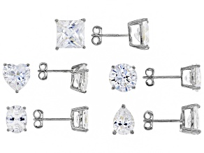 cubic zirconia sterling silver earring set 30.00ctw