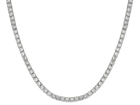 Cubic Zirconia Rhodium Over Sterling Silver Tennis Necklace 23.76ctw