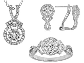 Cubic Zirconia Sterling Silver Jewelry Set 2.50ctw