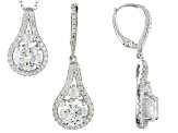 Cubic Zirconia Rhodium Over Sterling Silver Pendant And Earrings 12.43ctw