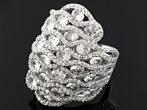 Cuvic Zirconia Silver Ring 10.56ctw