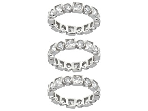 Cubic Zirconia Sterling Silver Bands- Set Of 3 13.29 Ctw