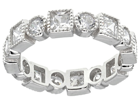 Cubic Zirconia Rhodium Over Sterling Silver Bands- Set Of 3 13.29 Ctw