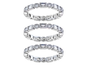 Cubic Zirconia Sterling Silver Bands Set Of 3 3.30ctw