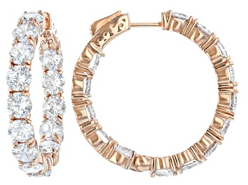 Picture of Cubic Zirconia Rhodium 18k Yellow Gold Over Sterling Silver Hoop Earrings 23.68ctw