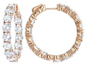 Cubic Zirconia Rhodium 18k Yellow Gold Over Sterling Silver Hoop Earrings 23.68ctw