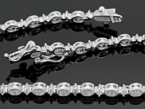 White Cubic Zirconia Rhodium Over Sterling Silver Bracelet 1.50ctw