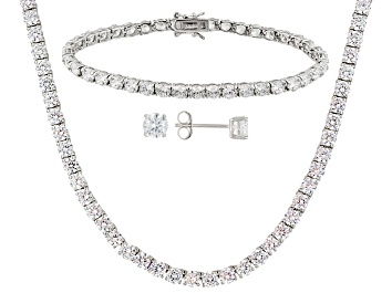 Picture of Cubic Zirconia Rhodium Over Sterling Silver Necklace, Bracelet And Earrings Set 62.00ctw