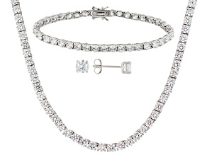 Cubic Zirconia Rhodium Over Sterling Silver Necklace, Bracelet And Earrings Set 62.00ctw