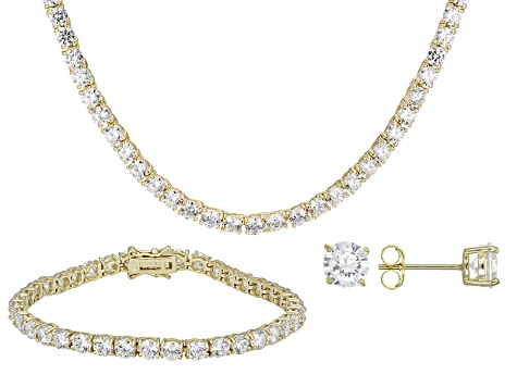 Cubic Zirconia 14k Yellow Gold Over Silver Necklace, Bracelet And Earrings Set 64.35ctw