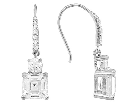 White Cubic Zirconia Asscher Cut  Rhodium Over Sterling Silver Dangle Earrings 9.40ctw