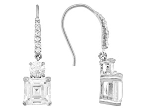 White Cubic Zirconia Rhodium Over Sterling Silver Dangle Earrings 9.40ctw
